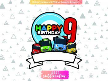 Tayo Birthday Number 9 Cake Topper Printable