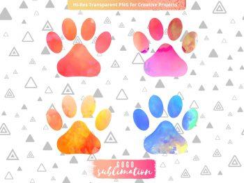 Watercolor Pets Dog Paws Sublimation Designs