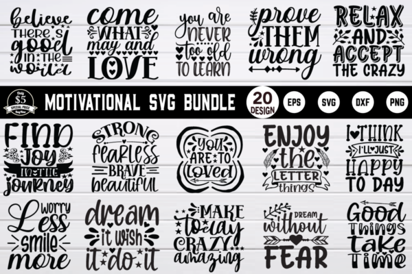 1200 800 6 Vectorency Motivational SVG Bundle Vol 3