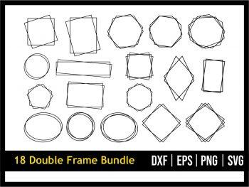 Double Frame SVG Square Frame Bundle Double Border Rectangle Circle Frame