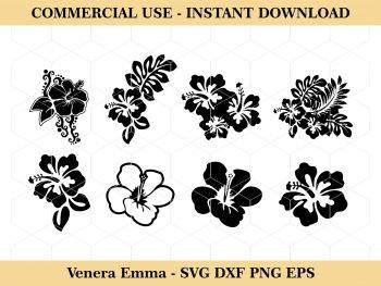 Hawaiian Flower SVG Clipart Set