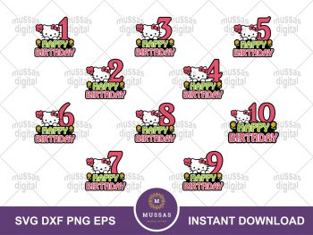 Hello Kitty Numbers Birthday Printable SVG Cut File