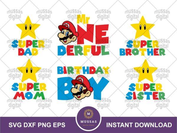 Mario Bros Birthday Boy SVG Family Mom Dad