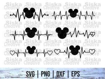 Mickey Head Heartbeat SVG, PNG, DXF for Cut files