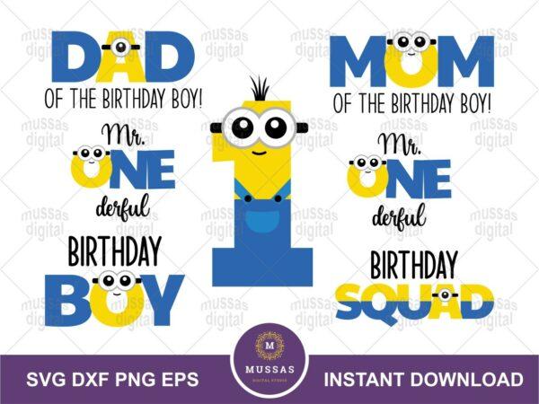 Minion Birthday Boy SVG Family Mom Dad