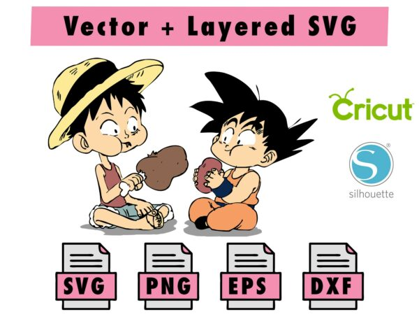 THUMBNAIL 2 Vectorency Anime Luffy and Goku SVG , PNG , EPS , DXF for Cricut and silhouette machine