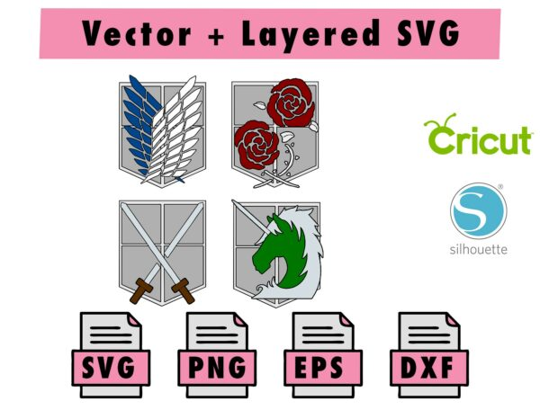 THUMBNAIL 4 Vectorency Anime Attack on Titan Corps SVG, PNG, DXF, EPS for Cricut and Silhouette Machine