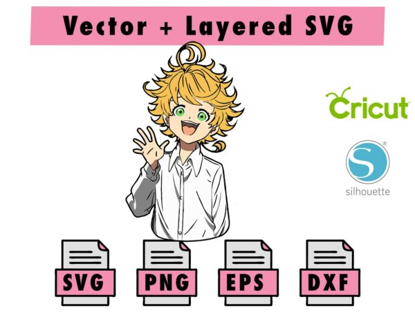 THUMBNAIL 5 Vectorency Anime The Promised Neverland SVG , PNG , EPS , DXF for Cricut and Silhouette Machine