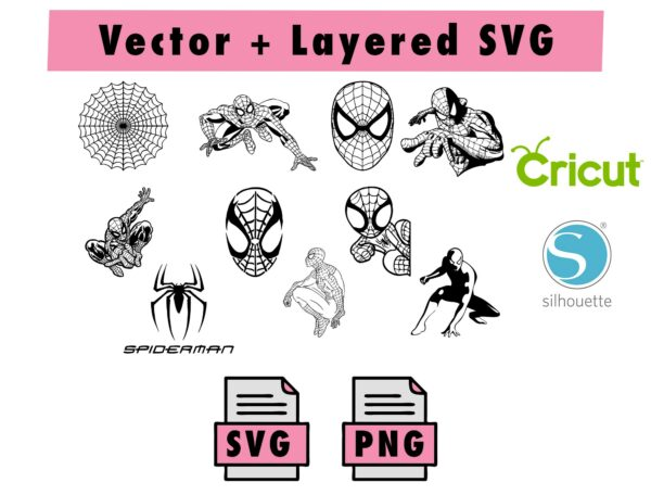 THUMBNAIL 6 Vectorency Bundle Spider Man SVG , PNG for Cricut and Silhouette Machine