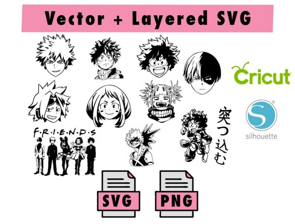 THUMBNAIL Vectorency Bundle My Hero Academia SVG, PNG for cricut and silhouette machine