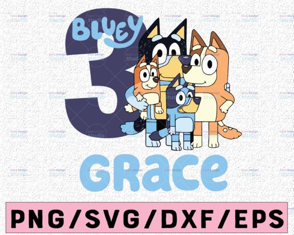 WTMETSY13012021 02 3 Vectorency Personalized Bluey SVG, Bluey Birthday Party SVG, Bluey Family SVG, Birthday Bluey SVG, Birthday Gift, Birthday Girl Boy Bluey Bingo