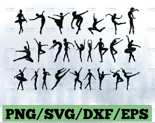 WTMETSY13012021 03 2 Vectorency Ballet Dancer Bundle Pack SVG, PNG, DXF, EPS Digital Design Illustration and Silhouettes Print Ready Apparel Design Printing