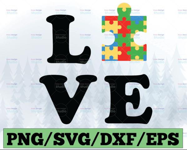 WTMETSY13012021 03 29 Vectorency Love Autism SVG, Autism Puzzle SVG, Autism Awareness SVG, Autism Mom SVG, Be Kind SVG, Puzzle Piece SVG, Heart, Quotes, Love, Cricut, Cut Files