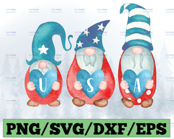 WTMETSY13012021 03 43 Vectorency 4th of July Gnomes PNG, Independence Day Patriotic Gnomes American USA Flag PNG File for Sublimation