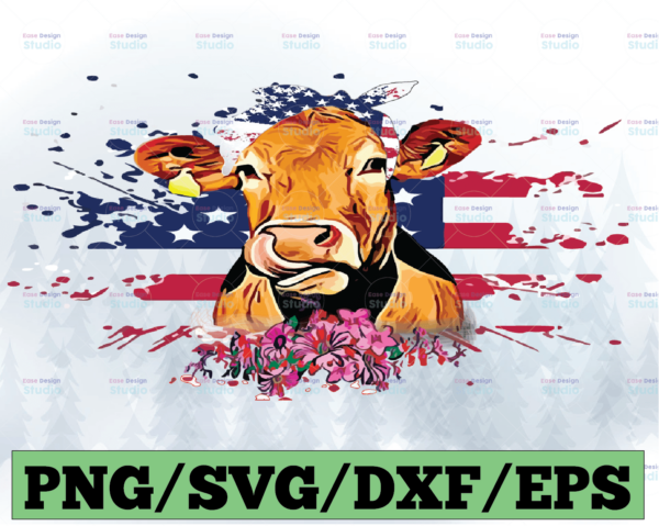 WTMETSY13012021 03 49 Vectorency Highland Cow With USA 4th July Bandana PNG, Hand Drawn, Sublimation PNG, Digital Download