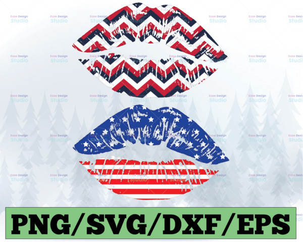 WTMETSY13012021 03 53 Vectorency USA Lips PNG, Kiss Kisses 4th of July PNG, Fourth of July, Patriotic American Flag Lips, Sublimation PNG File, Digital Download