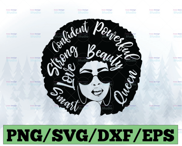 WTMETSY13012021 03 Vectorency Confident, Powerful, Beautiful, Smart, Strong, Queen SVG Afro Love SVG for cricut Afro Woman Black is Beautiful Strong Women Boss Lady