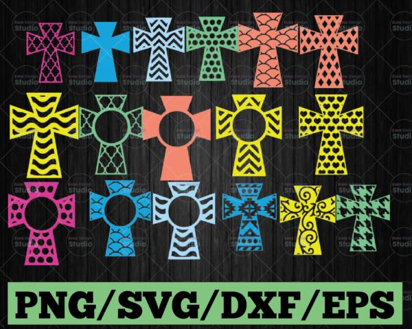 WTMETSY13012021 03 7 Vectorency Monogram Cross Bundle SVG Monogram Cut Files Cricut Silhouette Cut Files PNG AI DXF EPS SVG Cross SVG