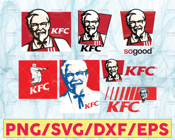 WTMETSY13012021 05 8 Vectorency Kentucky Fried Chicken Logo Bundle SVG, KFC SVG, Fast Food SVG, Food and Drink SVG, PNG, DXF
