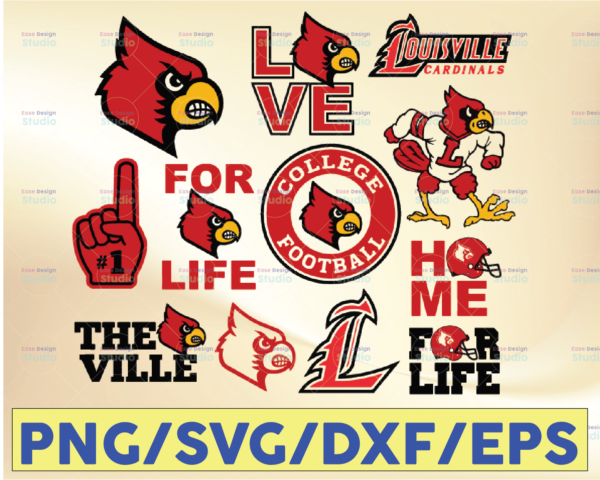 WTMETSY16032021 09 27 Vectorency Louisville Cardinals Football SVG, Sport SVG, Football SVG, Silhouette SVG, Cut Files, College Football SVG, NCAA Logo SVG