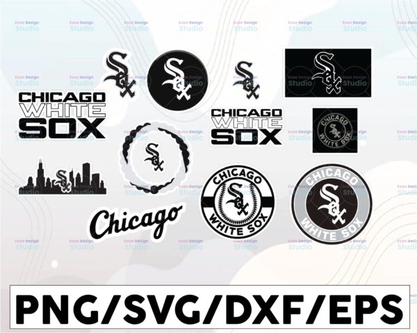 WTMETSY16032021 1 01 16 Vectorency Chicago White Sox SVG Cut Files, SVG Files, Baseball Clipart, Cricut Chicago White Sox Cutting Files, Baseball DXF, Clipart, Instant Download