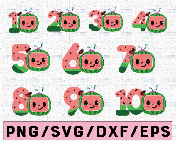 WTMETSY16122020 02 12 Vectorency Cocomelon Logo and Birthday Number SVG/PNG, Cocomelon Birthday SVG/PNG, Cocomelon Family Birthday PNG, Watermelon SVG PNG EPS JPG DXF