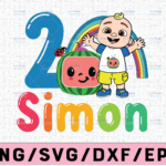 WTMETSY16122020 02 19 Vectorency Cocomelon Personalized Name And Ages Birthday SVG PNG, Cocomelon Birthday SVG, Cocomelon Family Birthday SVG, Watermelon SVG PNG EPS JPG DXF