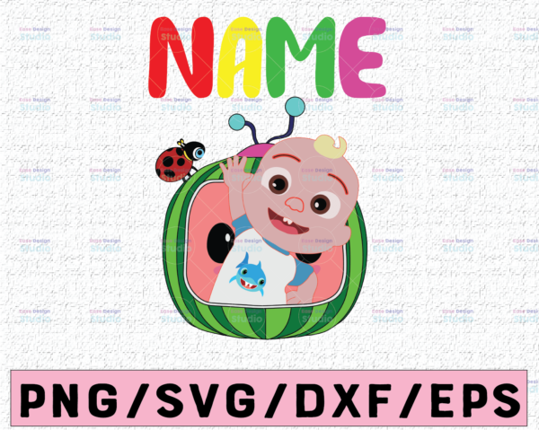 WTMETSY16122020 02 35 Vectorency Cocomelon Personalized Family Birthday SVG, Cocomelon Head JJ In Onesie SVG, JJ Plus Cocomelon Head, Cocomelon Words SVG, PNG, DXF