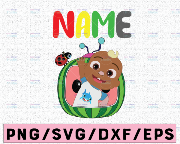 WTMETSY16122020 02 38 Vectorency Cocomelon Personalized Name Birthday SVG PNG, Cocomelon Birthday SVG, Cocomelon Family Birthday SVG, Watermelon SVG PNG EPS JPG DXF