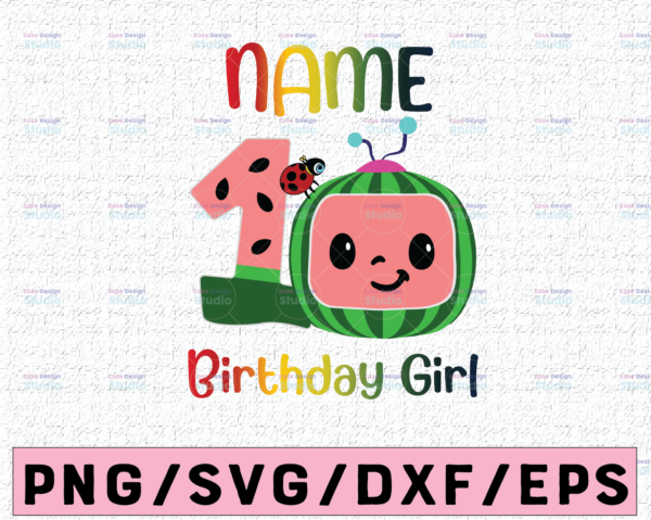 WTMETSY16122020 02 50 Vectorency Cocomelon Personalized Name Birthday Girl PNG SVG, Cocomelon Birthday SVG PNG, Cocomelon, Cocomelon Family Birthday PNG, Watermelon