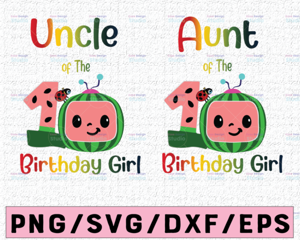 WTMETSY16122020 02 54 Vectorency Cocomelon Uncle and Aunt Of Birthday Girl SVG, Coco Melon SVG, Cocomelon Bundle SVG, Cocomelon Birthday SVG, Watermelon Birthday