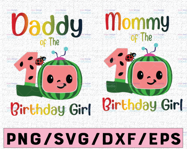WTMETSY16122020 02 55 Vectorency Cocomelon Dad and Mom Of Birthday Girl SVG PNG, Coco Melon SVG Cocomelon Bundle PNG, Cocomelon Birthday, Watermelon Birthday