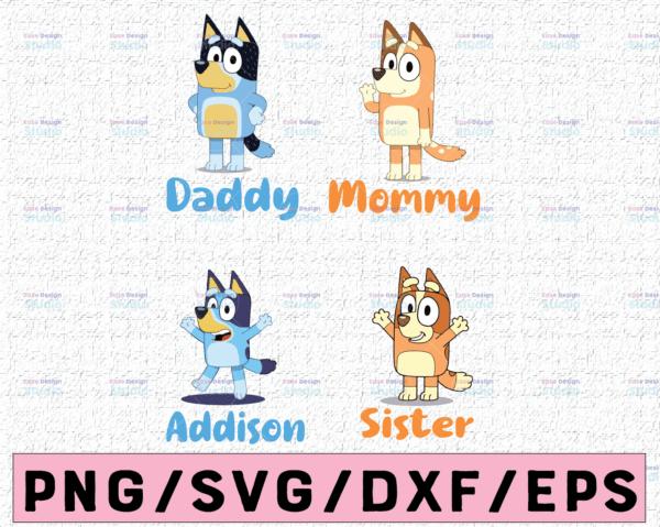 WTMETSY16122020 02 60 Vectorency Personalized Named Bluey SVG, The Heeler Family Bluey Dad Mom SVG, Doggy SVG, Funny Bluey, Blue Heeler Cartoon Dog Family SVG, Kawaii Dog