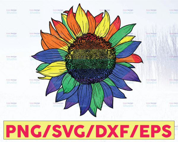 WTMETSY16122020 05 23 Vectorency LGBT Pride SVG Colorful Sunflower Sublimation PNG File, LGBTQ Pride Month, Sublimation Design Digital Download , Rainbow Sunflower Sublimate PNG