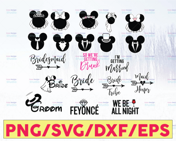 WTMETSY16122020 05 67 Vectorency Wedding Minnie and Mickey Bride and Groom SVG, Cutting File, Mickey Minnie Wedding SVG, Bride and Groom SVG, Married SVG,