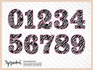Zebra Number SVG 0-9