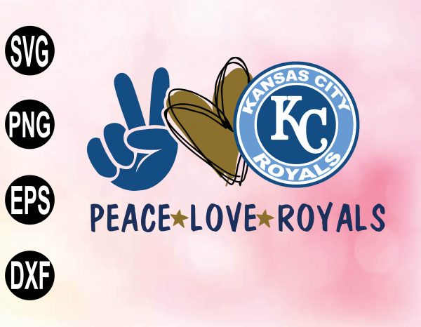 wtm 02 14 Vectorency Peace Love with Kansas City Royals SVG, MLB Team, SVG, PNG, EPS, DXF