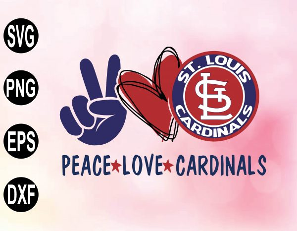wtm 02 15 Vectorency Peace love with St Louis Cardinals SVG, MLB Team, SVG, PNG, EPS, DXF