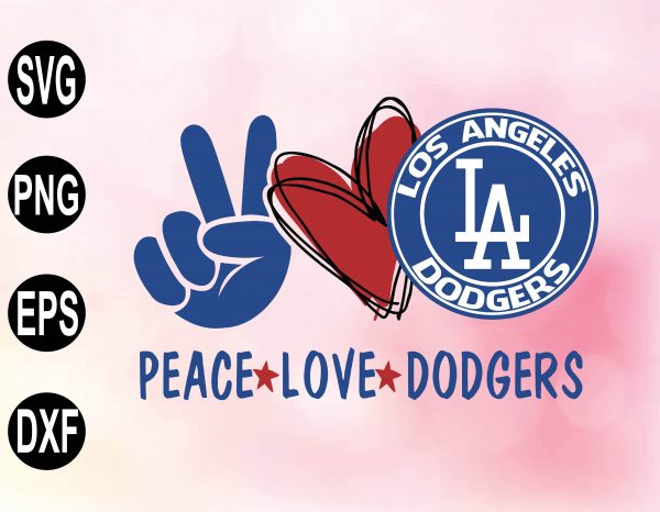 wtm 02 16 Vectorency Peace Love with LA Dodgers SVG, MLB Team, SVG, PNG, EPS, DXF