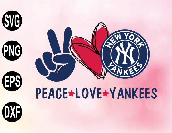 wtm 02 20 Vectorency Peace love with NEW YORK yankee, MLB team, Svg, Png, Eps, Dxf