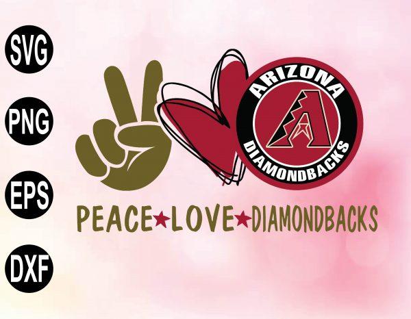 wtm 02 24 Vectorency Peace love with Arizona Diamondbacks SVG, MLB Team, SVG, PNG, EPS, DXF