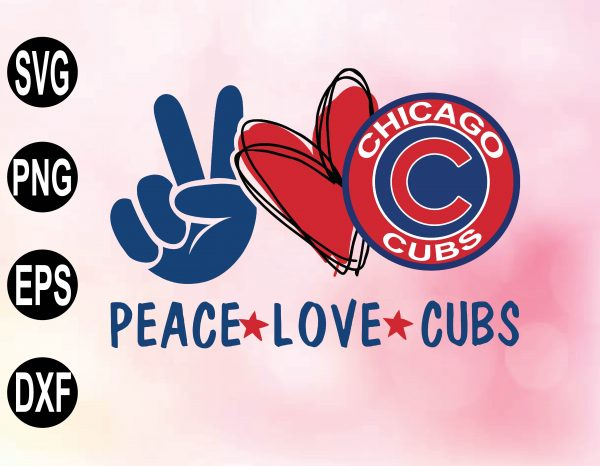 wtm 02 25 Vectorency Peace love with Chicago Cubs SVG, MLB Team, SVG, PNG, EPS, DXF