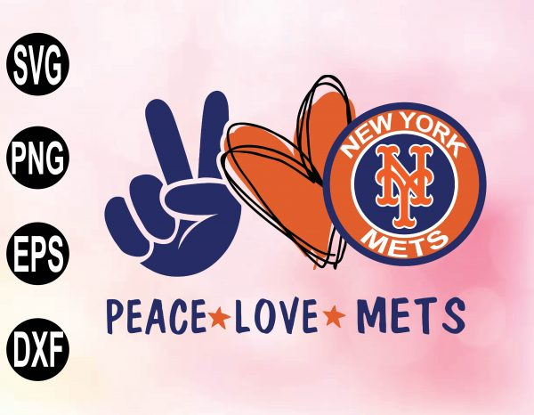 wtm 02 28 Vectorency Peace love with New York Mets SVG, MLB Team, SVG, PNG ,EPS, DXF