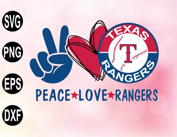wtm 02 29 Vectorency Peace love with Texas Rangers SVG, MLB Team, SVG, PNG, EPS, DXF