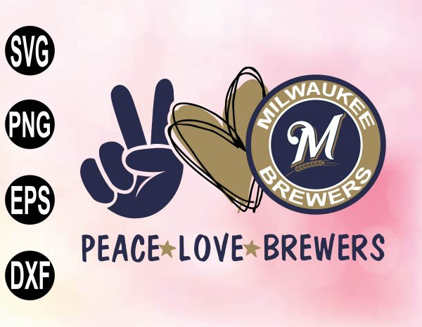 wtm 02 30 Vectorency Peace Love with Milwaukee Brewers SVG, MLB Team, SVG, PNG, EPS, DXF