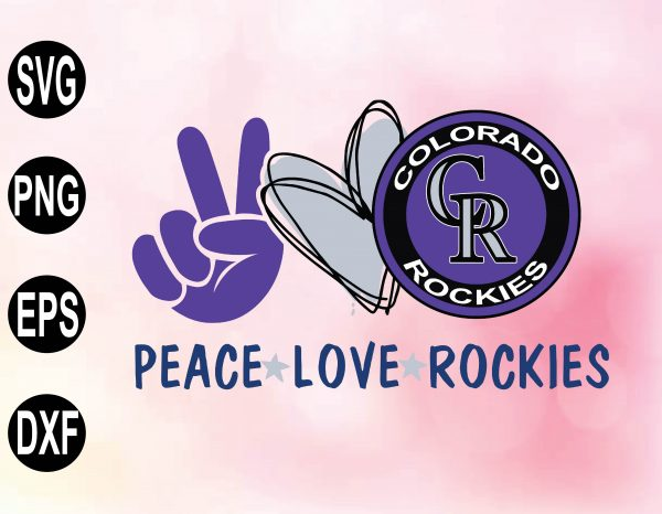 wtm 02 34 Vectorency Peace love with Colorado Rockies SVG, MLB Team, SVG, PNG, EPS, DXF