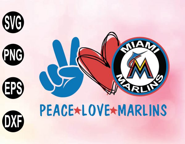 wtm 02 38 Vectorency Peace love with Miami Marlins SVG, MLB Team, SVG, PNG, EPS, DXF