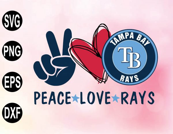 wtm 02 39 Vectorency Peace love with Tampa Bay Rays SVG, MLB Team, SVG, PNG, EPS, DXF