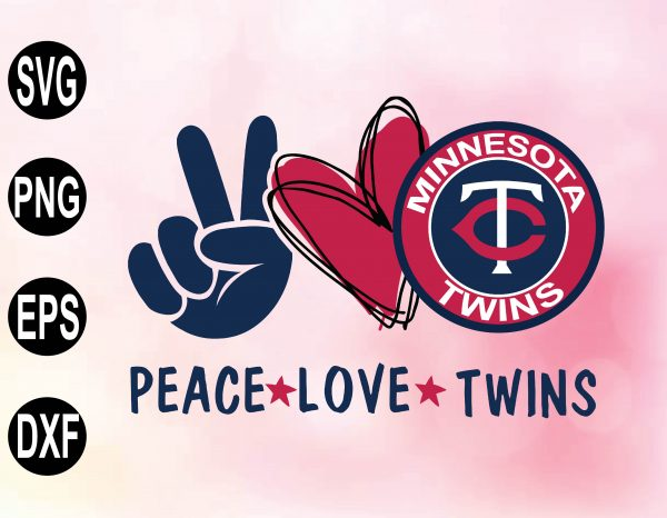 wtm 02 40 Vectorency Peace love with Minnesota Twins SVG, MLB Team, SVG, PNG, EPS, DXF