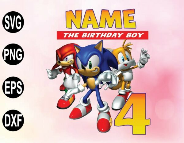 wtm 02 45 Vectorency SONIC Birthday PNG, File Sonic Theme Party PNG, File Raglan PNG, File Personalized PNG, File Family Matching PNG, SVG, PNG, EPS, DXF